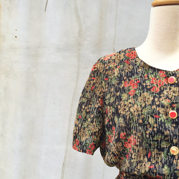 SALE ! |  Pocket Square | Lace pocketsquare Digital Floral print button down Vintage 1950s Day Dress with matching Belt | Art Deco