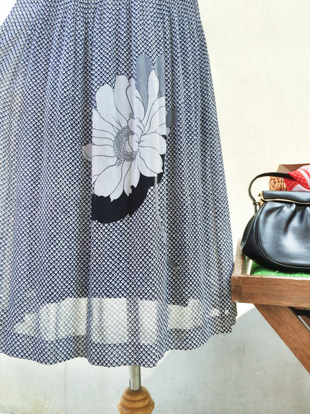 Still life | Artistic painting Flower print dark blue polka dotted Vintage 1970s dress