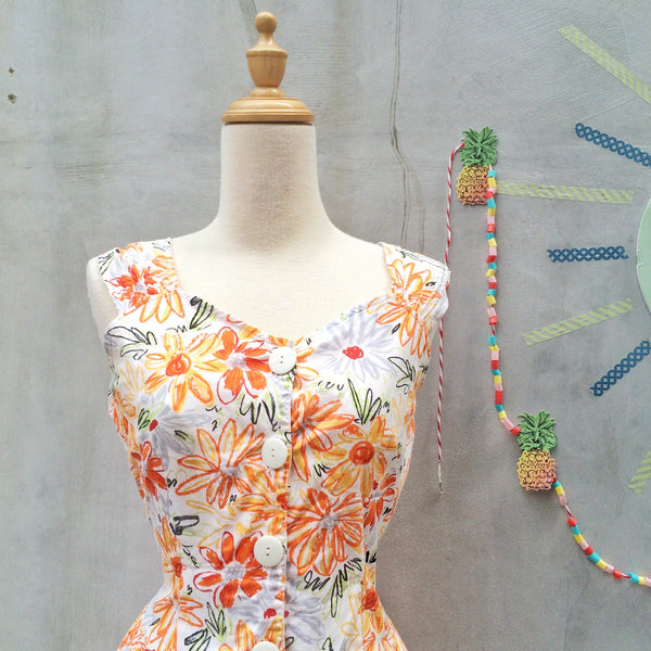 Draw me a Flower | Vintage 1950s doodle script Floral flower Orange Summery Sun dress
