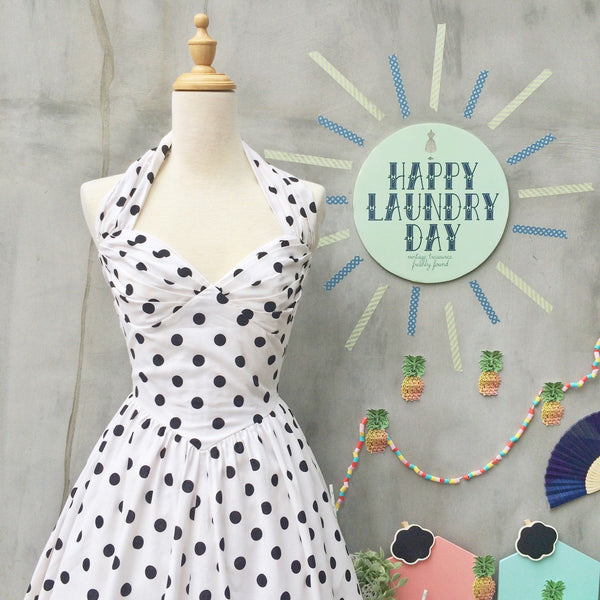 Rockabilly Baby | Vintage 1980s does 1950s My Michelle designer Rockabilly Pinup Glam Girl halter prom Black white polka dot dress with attached Crinoline