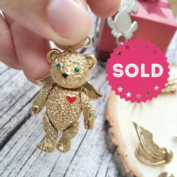 Vintage rare Movable Jointed designer signed BSK gold bear Brooch/pendant