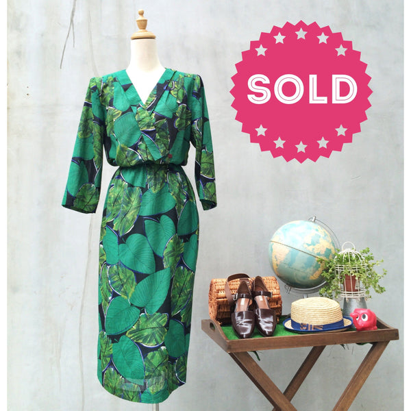 Jungle Fever | Vintage 1980s office workwear tropical Botanic leaf print Wiggle dress