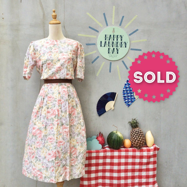 Sugar and Spice | Vintage 1980s pastel Rose 1950s tea party-inspired Dress | Buttons down the back