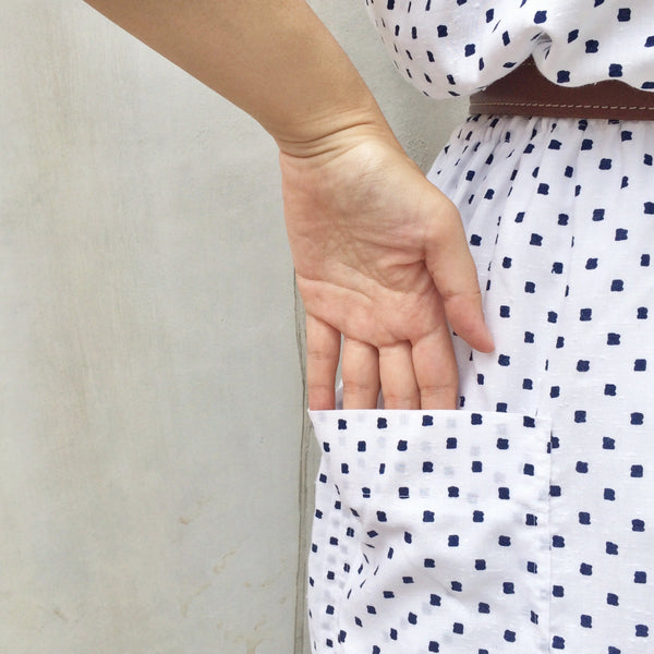Square Dancing | Vintage white blue Polka dot 1980s day dress with POCKETS!