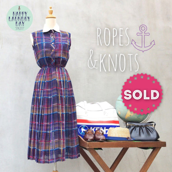 Ropes & Knots | Vintage 1970s Nautical theme Sailing inspired multi-color stripes dress