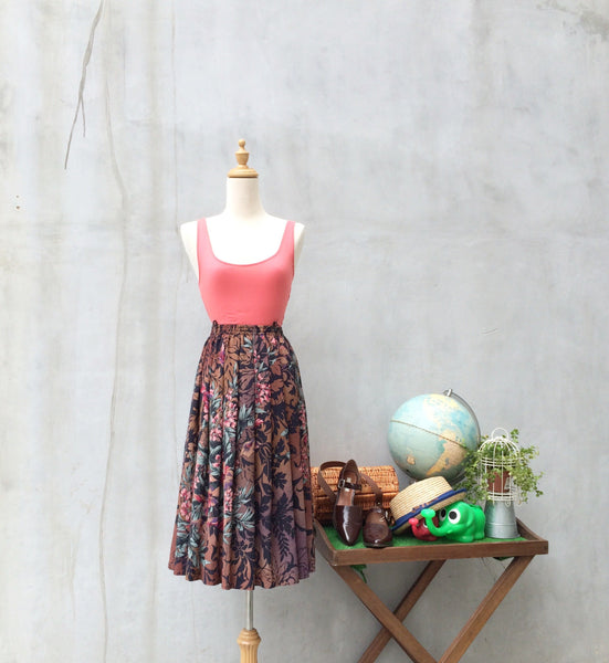 Tiger Lily | Vintage 1980s does 1950s Full flared skirt with Floral and Tiger Stripes