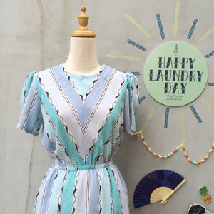 See Seafoam | Vintage 1950s sea foam green mint green pastel blues Wavy lines Summer shift dress