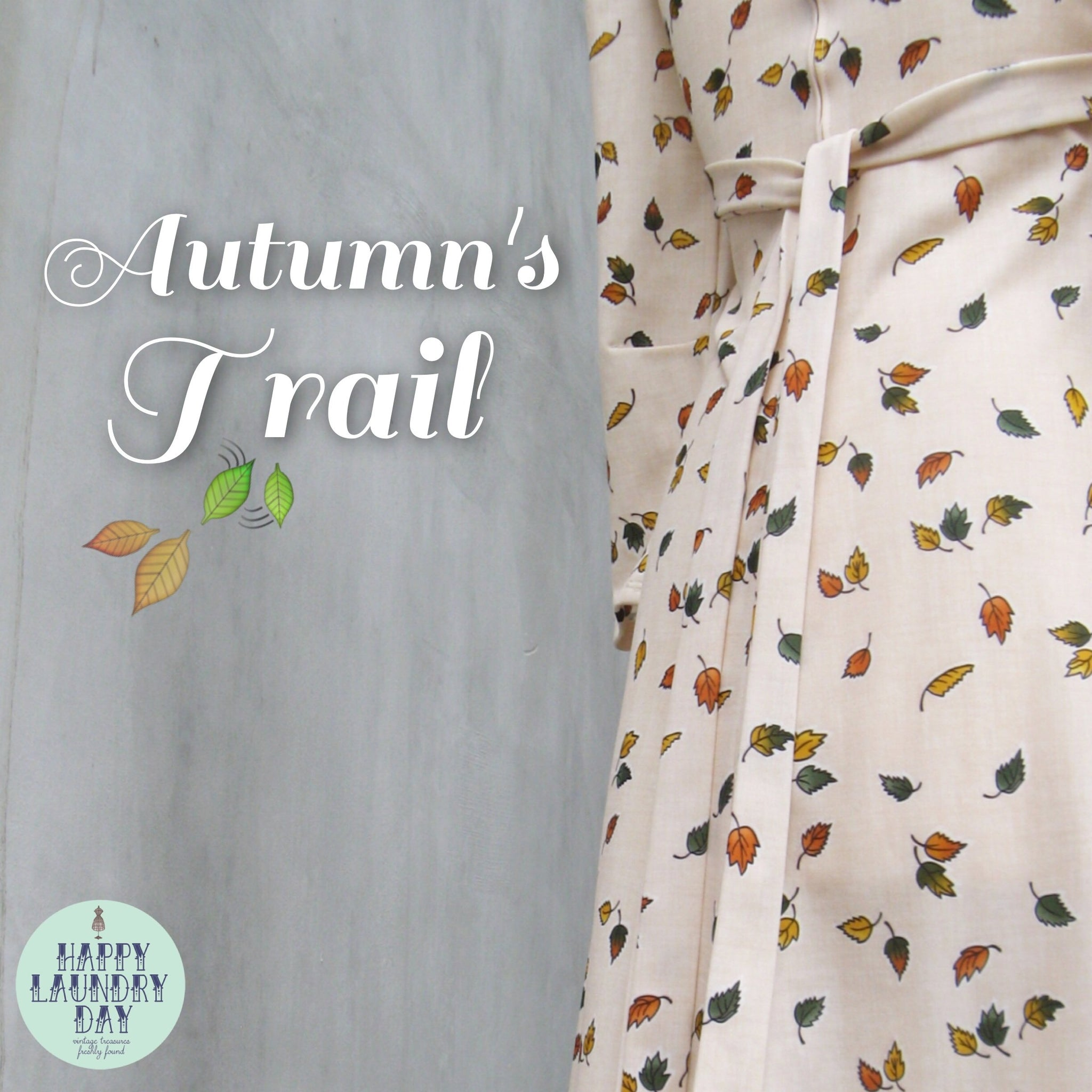 Autumn Trails | Vintage c. 1970s rare Maxi dress in Pale Pink and Falling leaf print