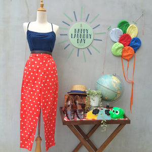 Polka Panther | Vintage Coral red white polka dot High-waisted Tapered Pants with Ankle Zips