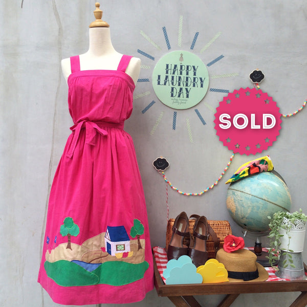 Home is where | Vintage 1970s house print Ethnic Mexican style Fuchsia Pink sundress
