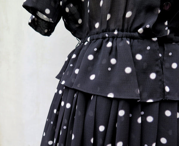 Lark | Vintage 1940s 1950s black white polka dot Peplum dress