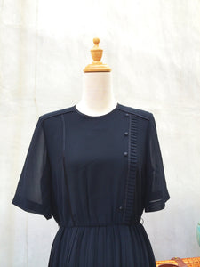 Mysterious Night | Deep black Rare Vintage Takashimaya Japanese dress