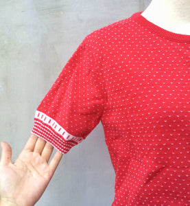 Red Star | Vintage Izod Lacoste white red small tick polka dot Rare 1950s 1960s Sweater