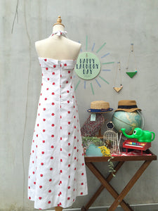 MUST HAVE! | Strawberry Fields | Vintage 1950s 1960s Metal zip Cute-as-a-button Embroidered strawberry Halter Maxi Dress