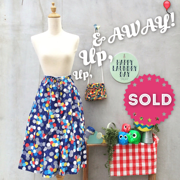 Up, up and Away! | Vintage 1960s 1970s Whee balloon print Drawstring skirt