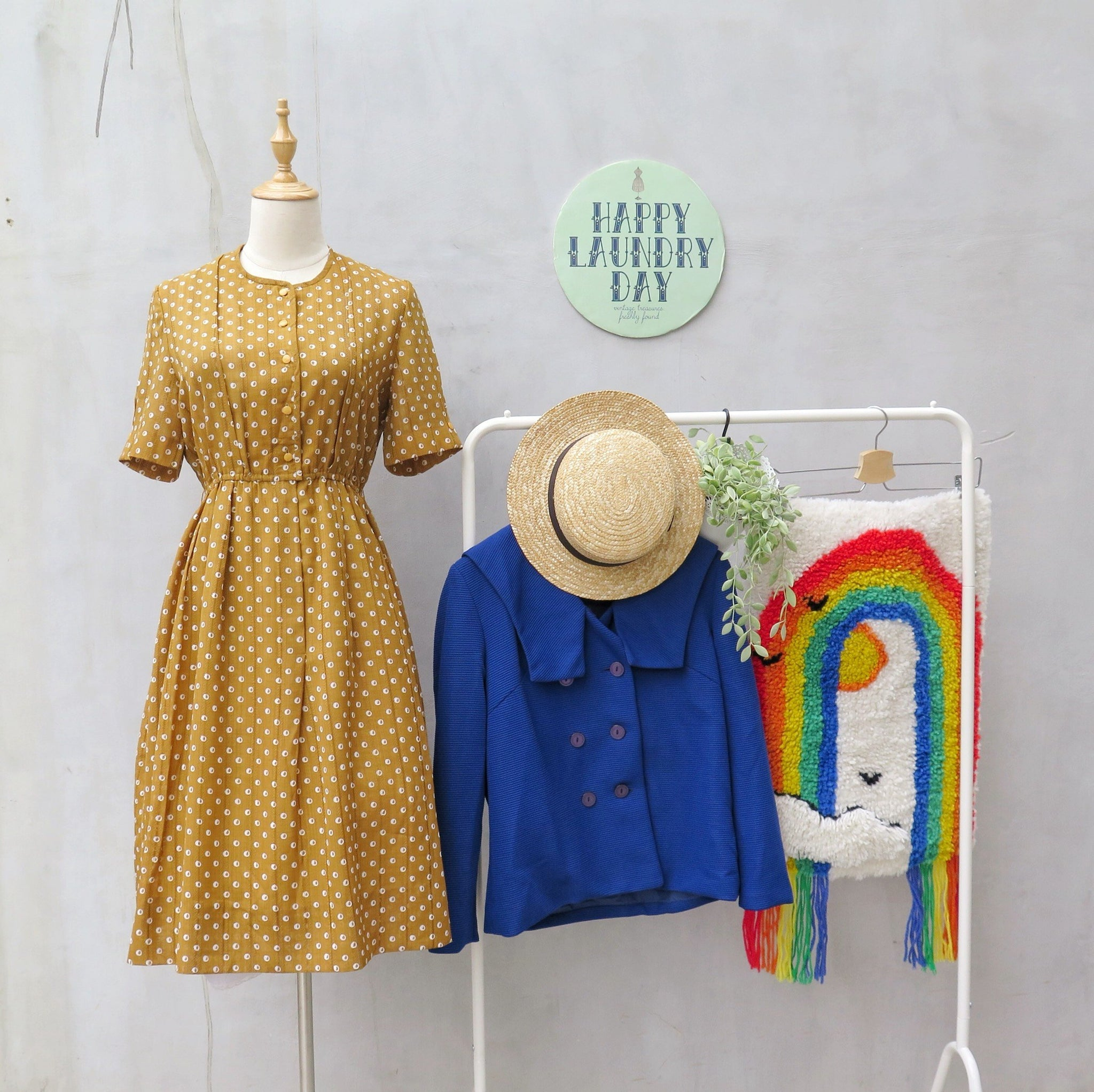 Carla Calamari | Vintage 1960s 1970s mustard yellow polka dot Day dress