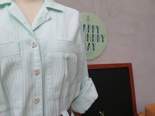 SALE! | Mint Green Mint | Vintage 1980s Mint/White striped 80s Dress
