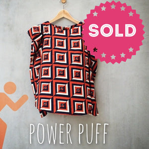 Power Puff | Geometric Retro 80s to the max Puff sleeve Orange Blouse top