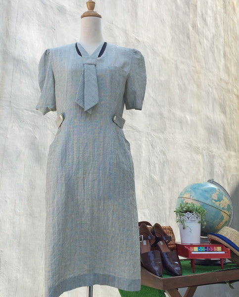 SALE! | Greyhound | Vintage 1980s-does-1940s Nautical theme Sailor tie dress