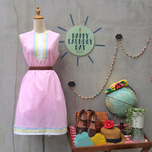 Airy Fairy | Vintage 1960s light cotton A-line shift dress in Pastel pink yellow and blue