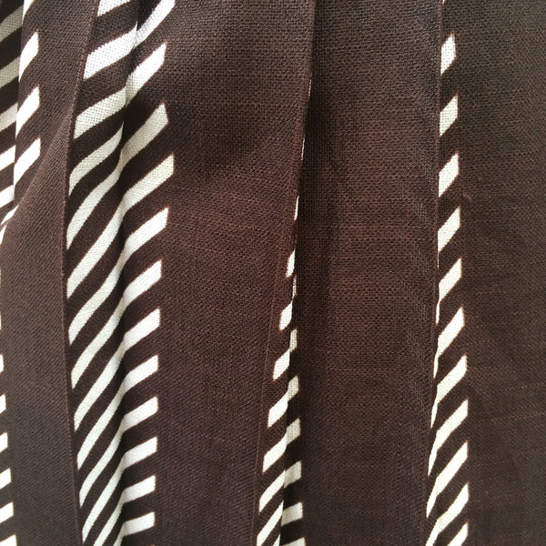 Midsummer's Night Party | Vintage 1950s pleated Brown and white striped Party Surprise Skirt