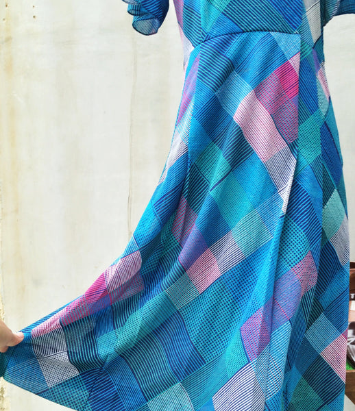 SALE! | No Plaid like home | Vintage 70s turquoise teal and pink Geometric checks Ruffles Tulip sleeves Day Dress | Diamond plaid tartan checkered