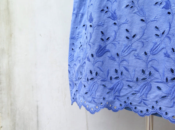 MUST HAVE! | Connie | Vintage 1950s 1960s Cotton-mix Cornflower blue Tulip pattern lace embroidery cut-out Elastic waist Dress
