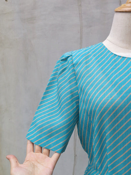 Elyssa | Vintage 1930s 1940s style retro Striped turquoise and white Day dress with Buttons detail