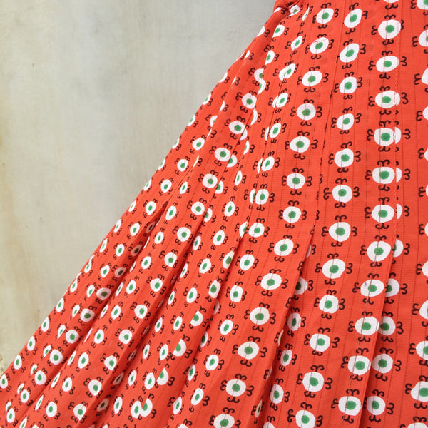 Round Daisies | Vintage 1960s 1970s A-line pleated skirt in Sienna Orange