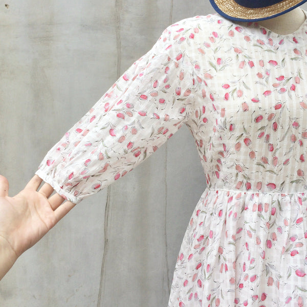 Cheery Cherry Blossoms | Vintage 1950s three-quarter sleeves Pink Floral Blossoms print Day Dress