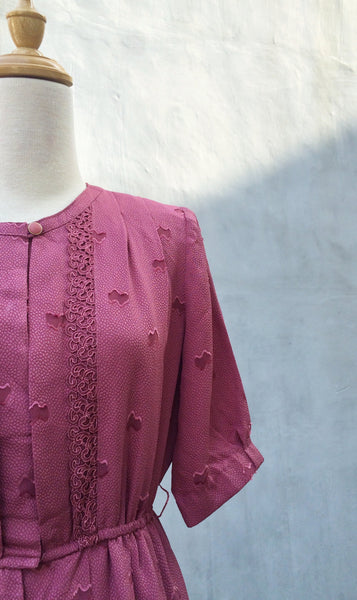 SALE! | Dusk's Dawn | Vintage dark pink 1980s sheer polka dot dress