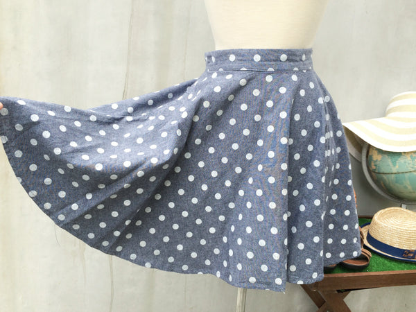 Do the Polka | Vintage 1980s does 60s Polka Dot circle swing skirt