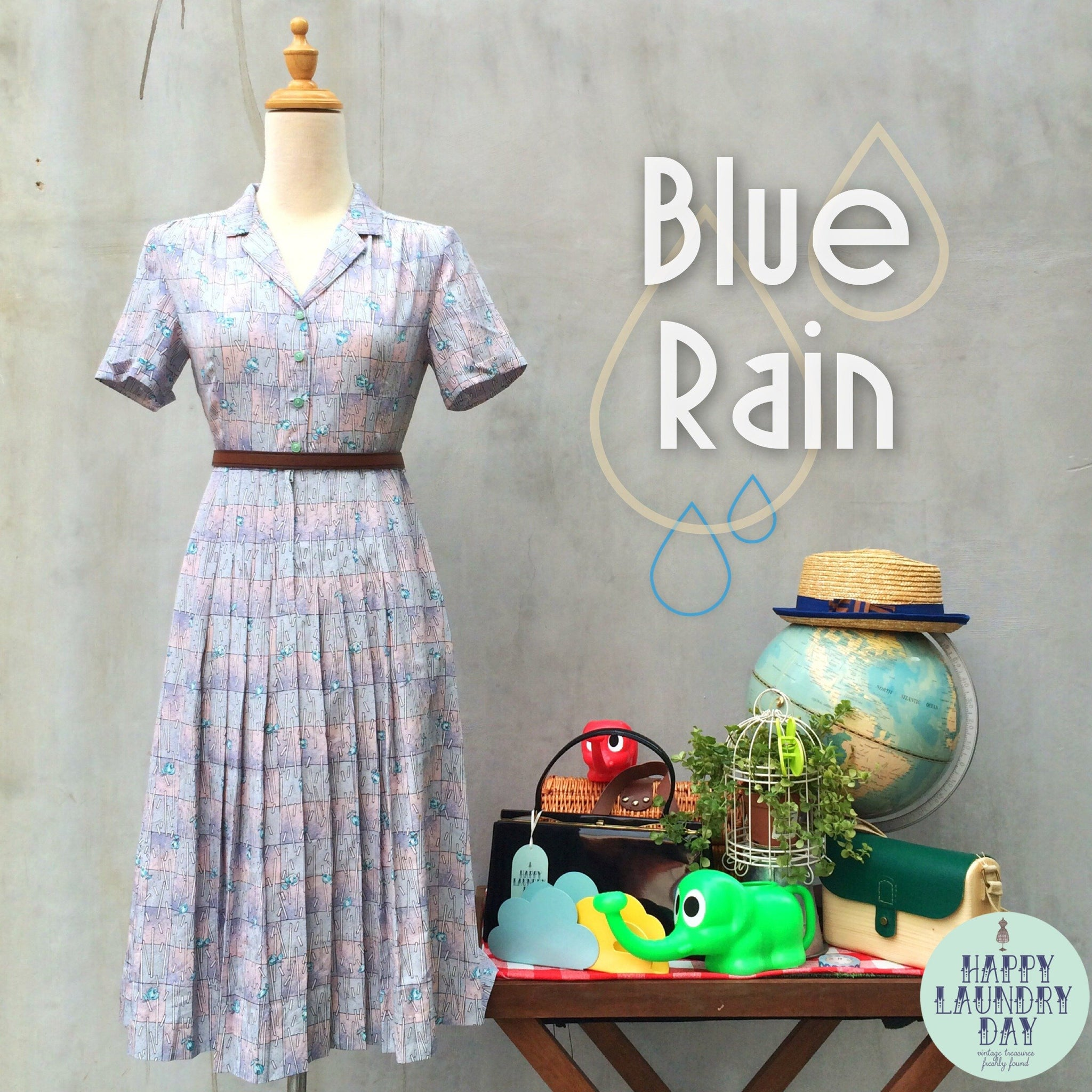 SALE! | Raining Blue Rose | Vintage 1940s shimmering sheen Pink light lavendar Blue Rose shirtwaist Dress
