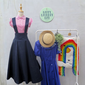 Preppy Heppy | Vintage 1960s 1970s Deep navy blue Pinafore skirt Dress with Removable straps
