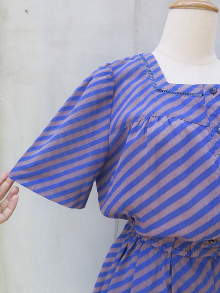 Becky | Vintage 1960s 1970s diagonal Blue and Brown stripes short-sleeved dress with Tiny square cut-outs