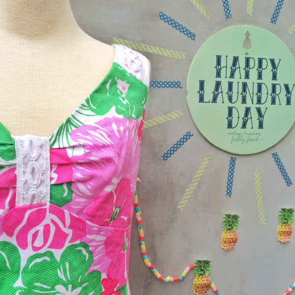 SALE! | Neon Party | Vintage 1980s 1990s pink green Hawaiian floral print Shift Dress