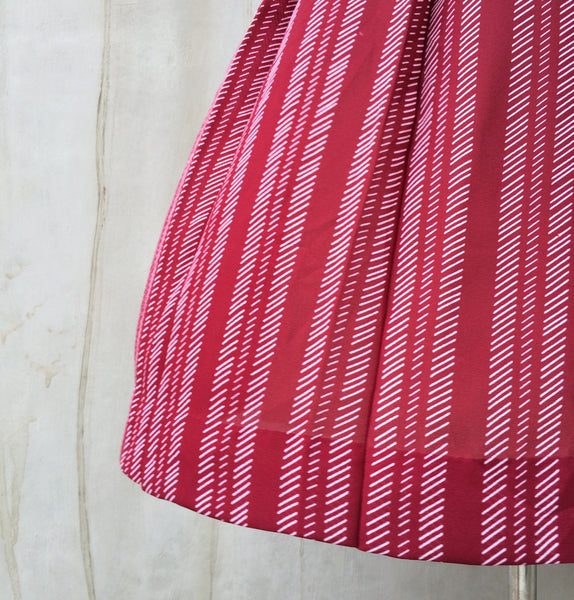 Summer Berries | Vintage 1960s 1970s white striped Dark red pleated Skirt