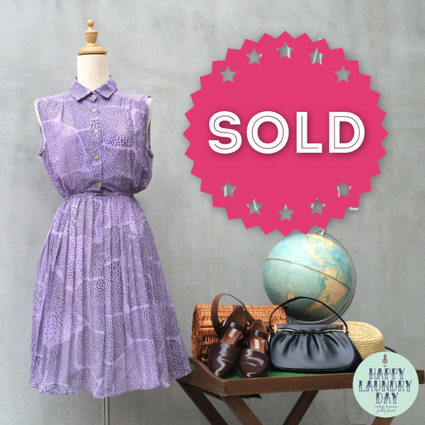 Pomegranate | Vintage 70s pleated dress in Lavender Purple Polka dot print