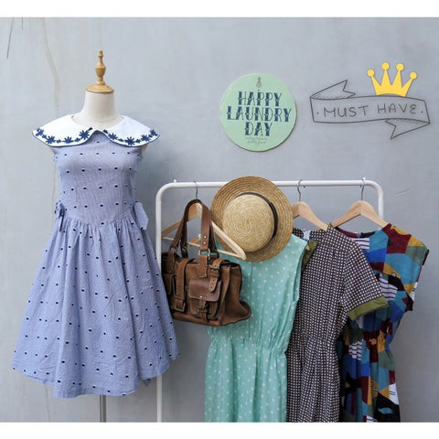 Must Have! | Neverland Never say Never | Vintage 1960s 1970s Wide Peter Pan Collar blue dress with Square polka dots