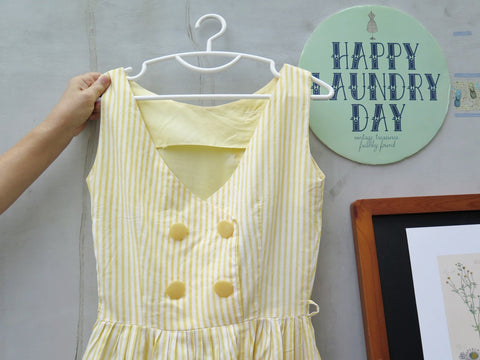 Consignment | Candied Yellow | Vintage 1960s 1970s Yellow striped Cute Tea Dress