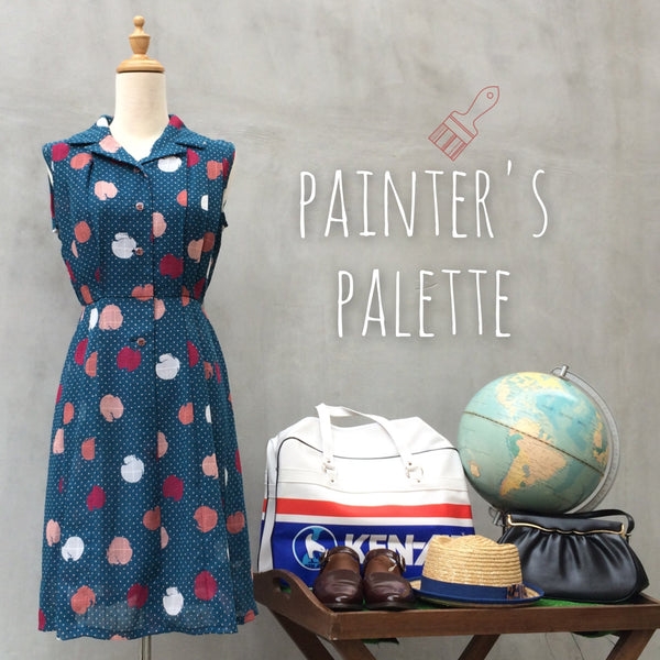 Painter's Palette | Abstract brush stroke Polka dot Vintage 70s teal box pleat Dress