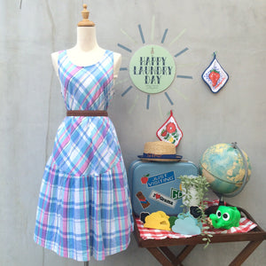 Jump for Joy | Vintage 1980s 100% cotton Plaid sleeveless tank dress with Cute pink buttons at the back