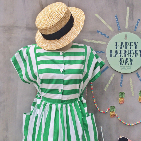 Watermelon Summer | Vintage 1980s does 1950s Green white Stripes Pockets dress