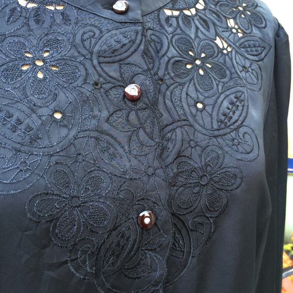 Black Out | Vintage 1970s does 1920s black Silky sateen Shirt Blouse