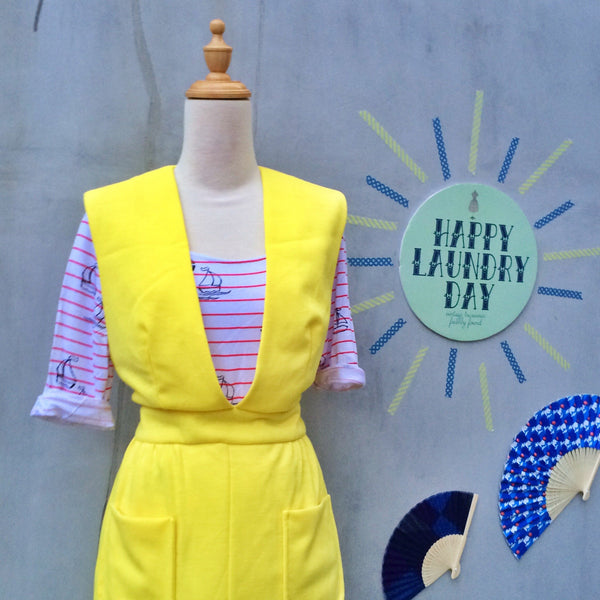 Rays of Sunshine | Vintage 1930s 1940s jumper dress in Bright pastel yellow