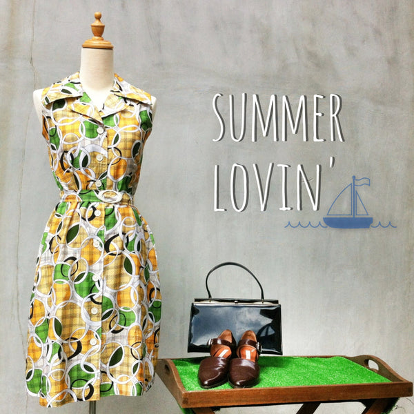 Summer Lovin' | Geometric shapes & ribbon belted 70s Vintage cotton day dress
