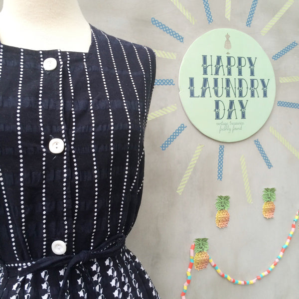 Fun in Monotone | Vintage 1940s sleeveless summer dress with Polka dots Stripes and Morning Glory Flowers
