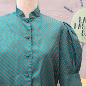 SALE! | Peals of Teal | Vintage diagonal Teal and Red stripes Mandarin Collar Work Day Dress