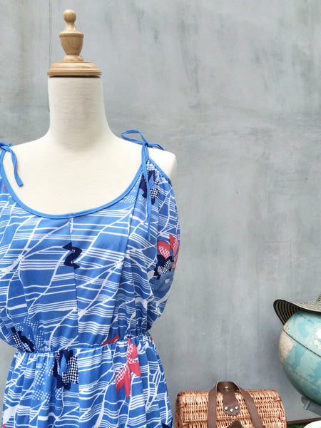 Maldives Calling | Flirty Cute Vintage 1970s 1960s tank Sun dress Nautical Sailor theme