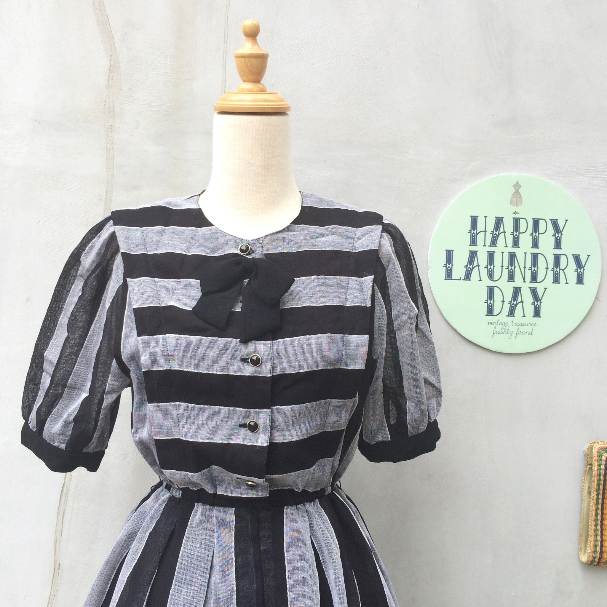 Little Bow-peep | Vintage 1950s vertical stripe Day dress with Black bow-brooch